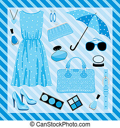 Fashion set in blue tones