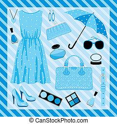 Fashion set in blue tones