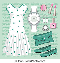 Fashion set in pastel tones with a - Vector illustration. It...