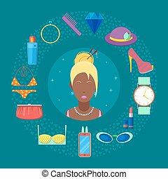 Fashion Set of Woman Cosmetics, Accessories and Clothes. Vector illustration