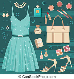 Fashion set - Vector illustration. It is created in the ...
