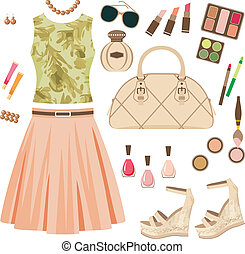 Fashion set - Vector illustration. It is created in the...