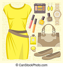 Fashion set with a casual dress