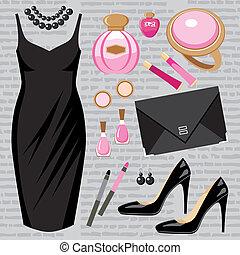 Fashion set with a cocktail dress