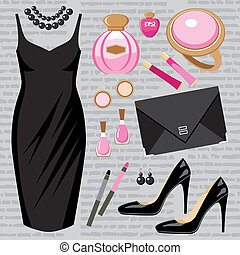 Fashion set with a cocktail dress - Vector illustration. It ...