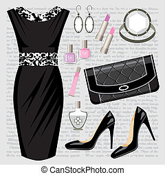 Fashion set with a dress - Vector illustration. It is...