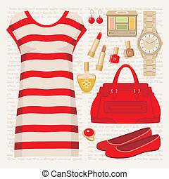 Fashion set with a tunic - Vector illustration. It is ...