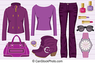 Fashion set with jeans and a jacket - Vector illustration....
