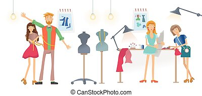 Fashion sewing Studio, Atelier. Women sew clothes. A man tries on clothes. Vector illustration, isolated on white background.