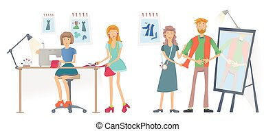 Fashion sewing Studio, Atelier. Women sew clothes with a sewing machine. A man tries on clothes. Vector illustration, isolated on white background.