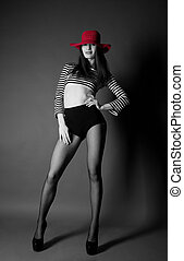 Fashion sexy girl with red hat
