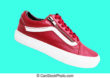 Fashion shoe with shoestring. Red sneaker and shoelace. -...