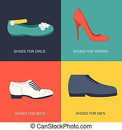 fashion shoes for family on flat style. Vector illustration concept banners. Template for website and mobile appliance