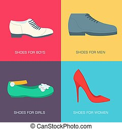 fashion shoes for family on flat style. Vector illustration concept banners. Template for website and mobile appliance design