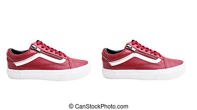 Fashion shoes with shoestring. Red sneaker and shoelace on white background
