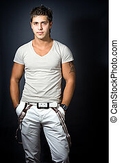 Fashion shoot of handsome sexy young man - Handsome sexy ...