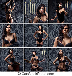 Fashion shoots of young sexy woman in lingerie