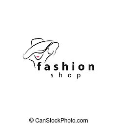Fashion shop Glamour Elegant Woman silhouette Logo design vector template. Lady negative space jewelry accessories Logotype concept icon.