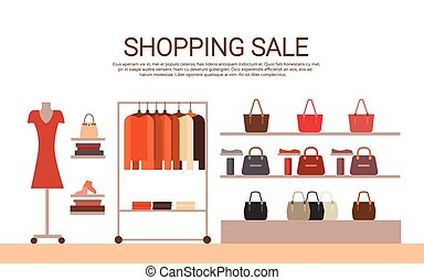 Fashion Shop Interior Big Holiday Sale Shopping