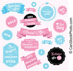 fashion shop vector stickers and ribbons