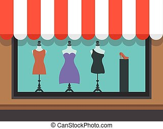 Fashion shopfront window with mannequins, vector