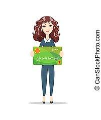 smiling elegant woman with plastic credit card