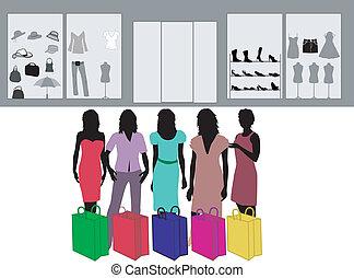 Fashion shopping girl - color