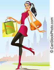 fashion shopping girl with shopping bag in New York- vector...