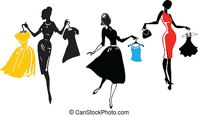 Girls holding apparel items, vector silhouettes