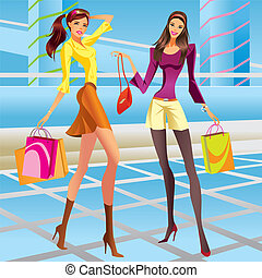 Fashion shopping girls in a mall