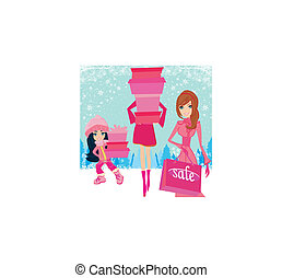 fashion shopping girls with gift boxes
