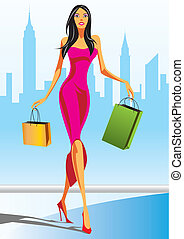 fashion shopping girls with shopping bag in New York - ...