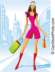 fashion shopping girls with shopping bag in New York -...