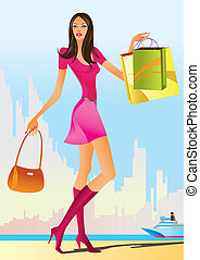 fashion shopping girls with shopping bag - vector ...
