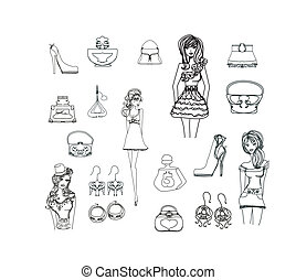 Fashion shopping icon doodle set