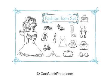 Fashion shopping icon doodle set