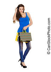 Fashion Shopping Model Girl full length Portrait. Beauty Woman w