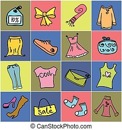 fashion shopping set icon