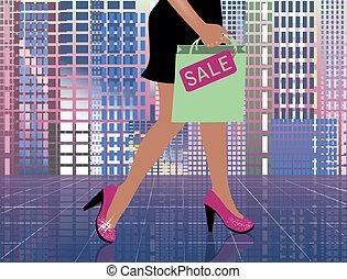 Fashion shopping woman in city