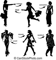 Fashion Shopping Woman Silhouettes - Vector silhouettes
