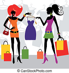 Two fashion shopping girls or women with bags, looking at new clothes. Full scalable vector graphic for easy editing and color change.