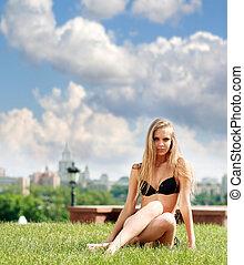 Fashion shot of a beautiful, sexy, blonde woman