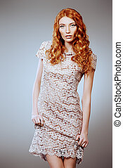 hair coloring - Fashion shot of a sexual female model with...