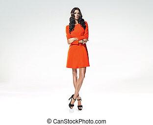 Fashion shot of tall, slim female model