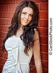 Fashion shot of young sexy brunette woman - Fashion shot of...