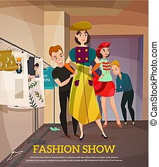 Designer and girls models in colorful apparels with hats in backstage during fashion show vector illustration