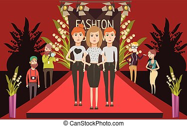 Catwalk fashion set flat composition with doodle female models and journalists photographer characters on red carpet vector illustration