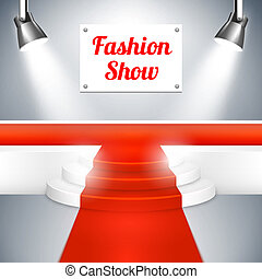 Empty Fashion Show catwalk with a sign red carpet raised platform at the end and spotlights vector background illustration