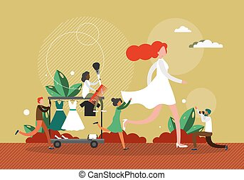Fashion show concept vector illustration. Female model walks on a stage in white dress. Fashion show backstage work. Celebrity walking on a runway
