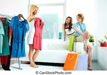 Fashion show - Image of pretty females looking at their ...